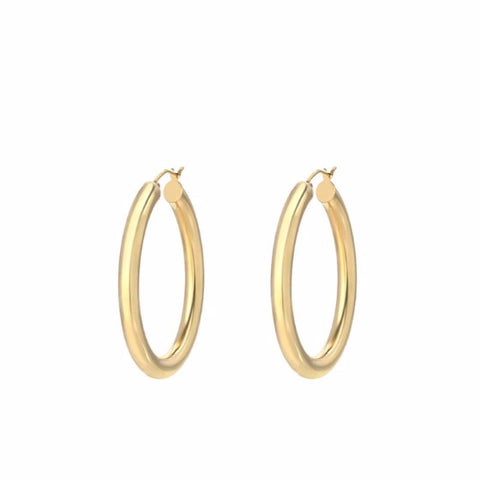 Thick  Round Hoop Earrings 18K Gold Plated