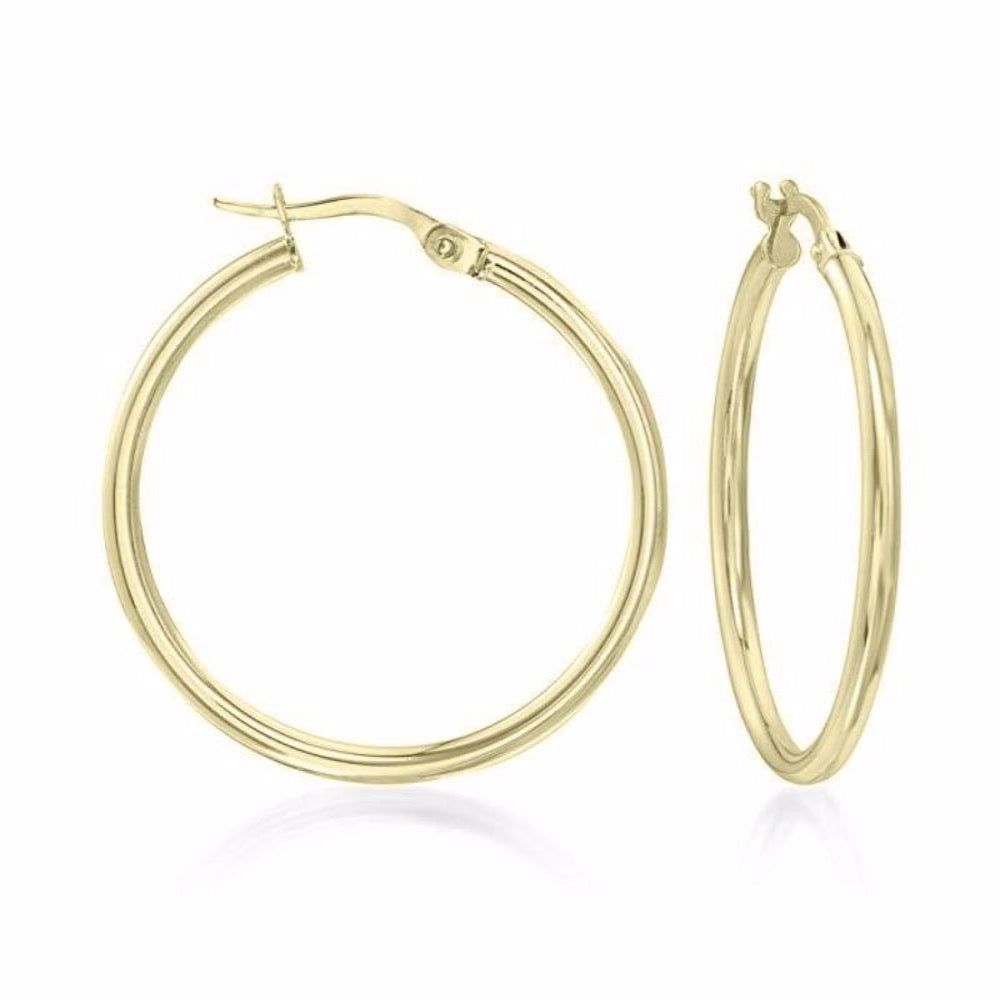 Classic Round Hoop Earrings 18K Gold Plated