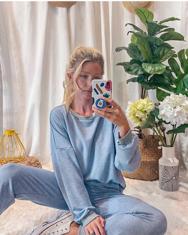LA Hearts Chambray Sweatshirt and Sweatpants Set
