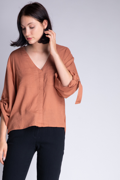 D-Ring Sleeve Linen Blend Shirt