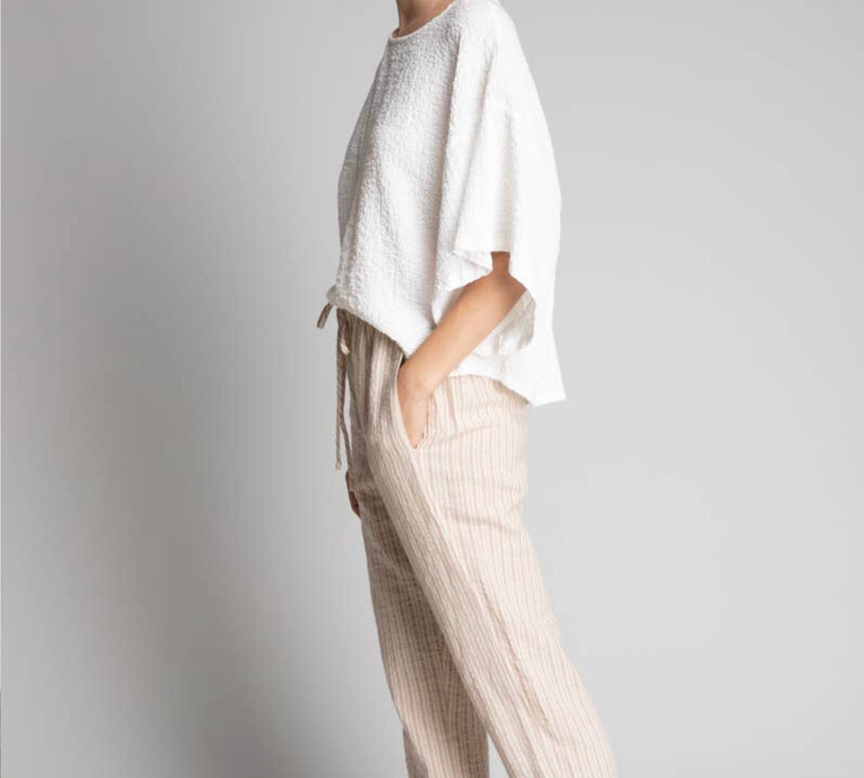 Easy Striped Cotton/Linen Pant