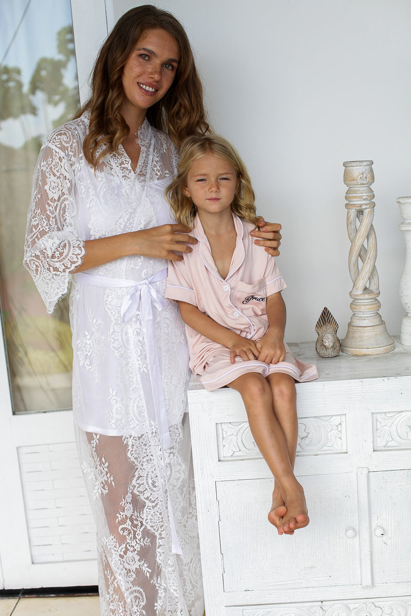 Lace Bridal Robe // Bridesmaid Robes // Robe // Bridal Robe // Bride Robe // Bridal Party Robes // Bridesmaid Gifts // Cotton Robe