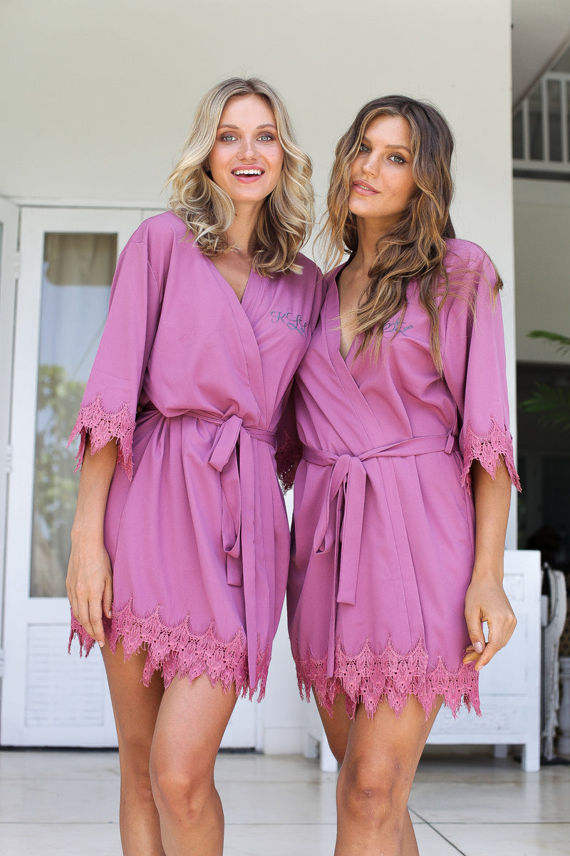 Deep Mauve Bridesmaid Robes // Robe // Bridal Robe // Bride Robe // Bridal Party Robes // Bridesmaid Gifts // Satin Robe // Lace Bridal Robe