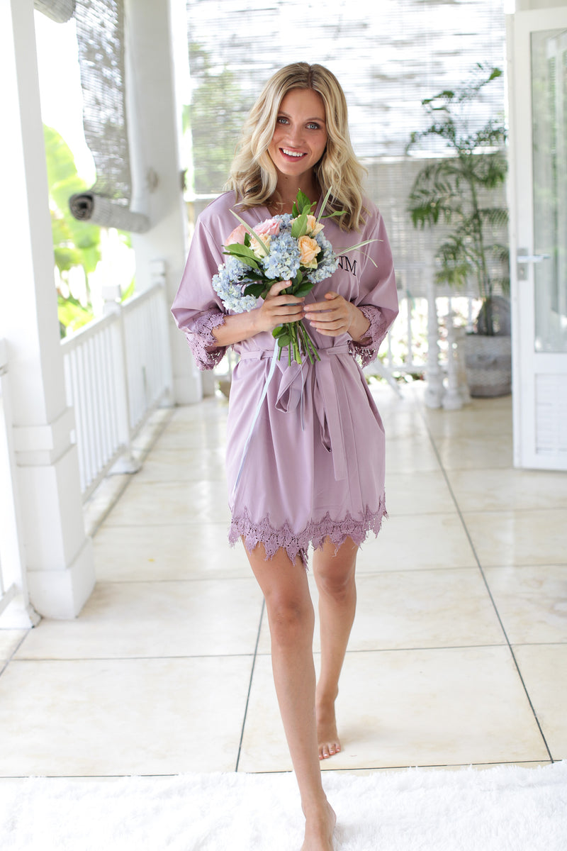 Light Mauve Bridesmaid Robes, Bridesmaid Lace Robes, Lace Bridal Robes, Bridal Party Robes, Bridal Party Robes, Bridesmaid Gifts, Bridesmaid Robe
