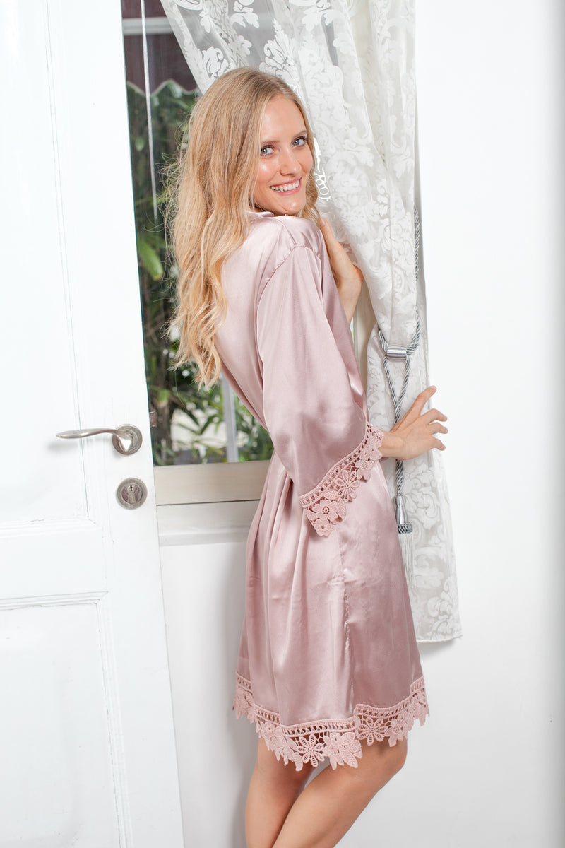 Duchess Satin Robe with Willow Lace