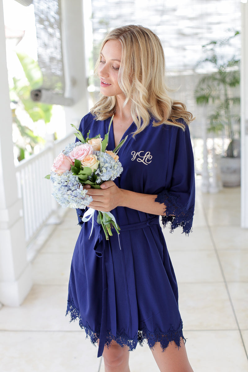 Navy Bridesmaid Robes // Robe // Bridal Robe // Bride Robe // Bridal Party Robes // Bridesmaid Gifts // Satin Robe // Lace Bridal Robe