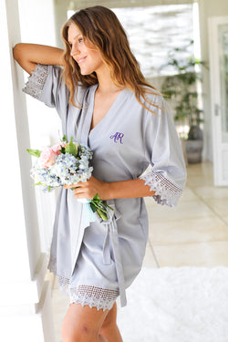 Soft Charcoal Lace Robes, Bridesmaid Robes, Bridesmaids Robe, Bridesmaids Robes, Bridal Robes, Getting Ready Robes, Bridal Robe, Wedding Day Robes