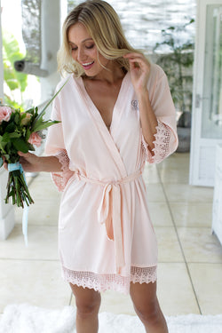 Blush Lace Robes, Bridesmaid Robes, Bridesmaids Robe, Bridesmaids Robes, Bridal Robes, Getting Ready Robes, Bridal Robe, Wedding Day Robes