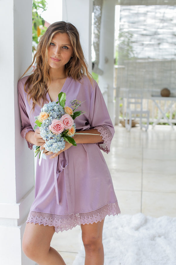 Light Mauve Lace Robes, Bridesmaid Robes, Bridesmaids Robe, Bridesmaids Robes, Bridal Robes, Getting Ready Robes, Bridal Robe, Wedding Day Robes