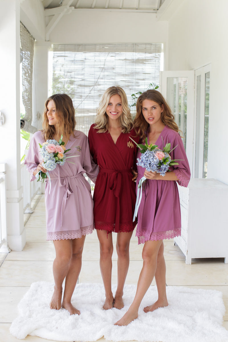 Deep Mauve Lace Robes, Bridesmaid Robes, Bridesmaids Robe, Bridesmaids Robes, Bridal Robes, Getting Ready Robes, Bridal Robe, Wedding Day Robes