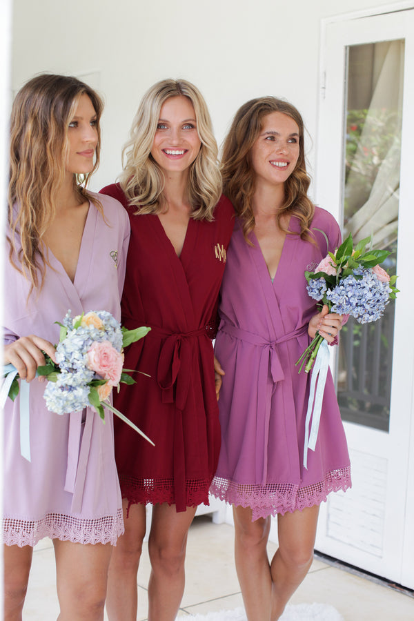 Burgundy Lace Robes, Bridesmaid Robes, Bridesmaids Robe, Bridesmaids Robes, Bridal Robes, Getting Ready Robes, Bridal Robe, Wedding Day Robes