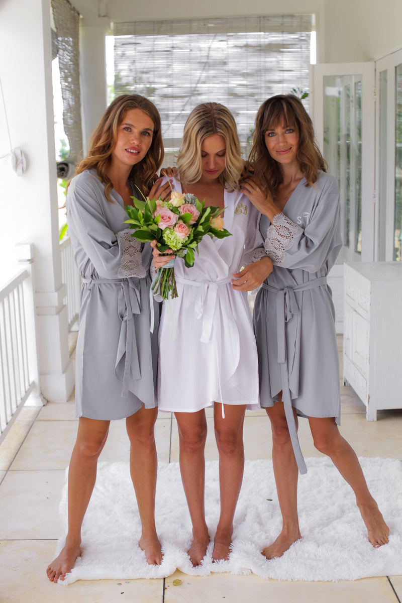 Santorini Lace Robe In Soft Charcoal Ss Weddings