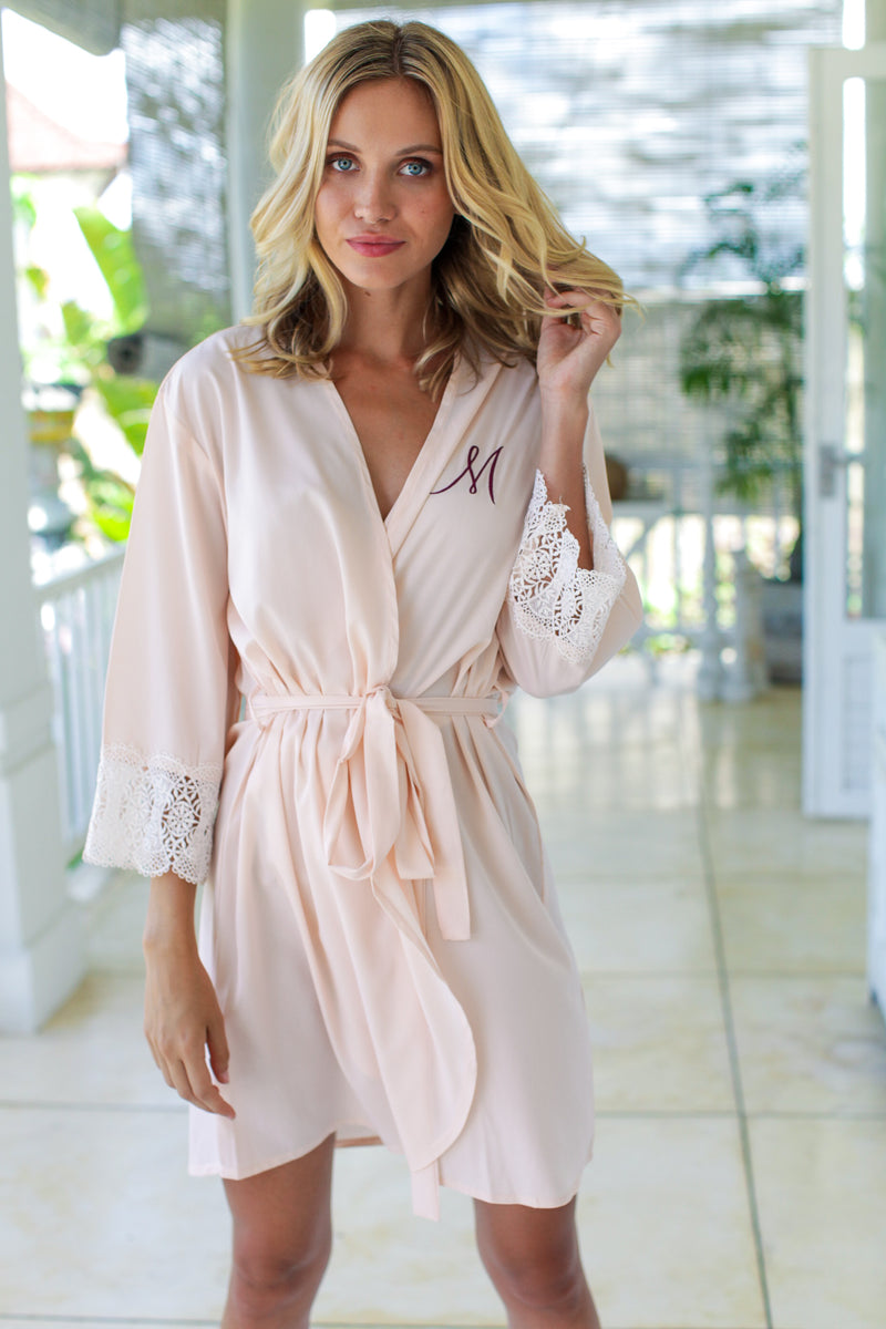 Santorini Lace Robe in Blush