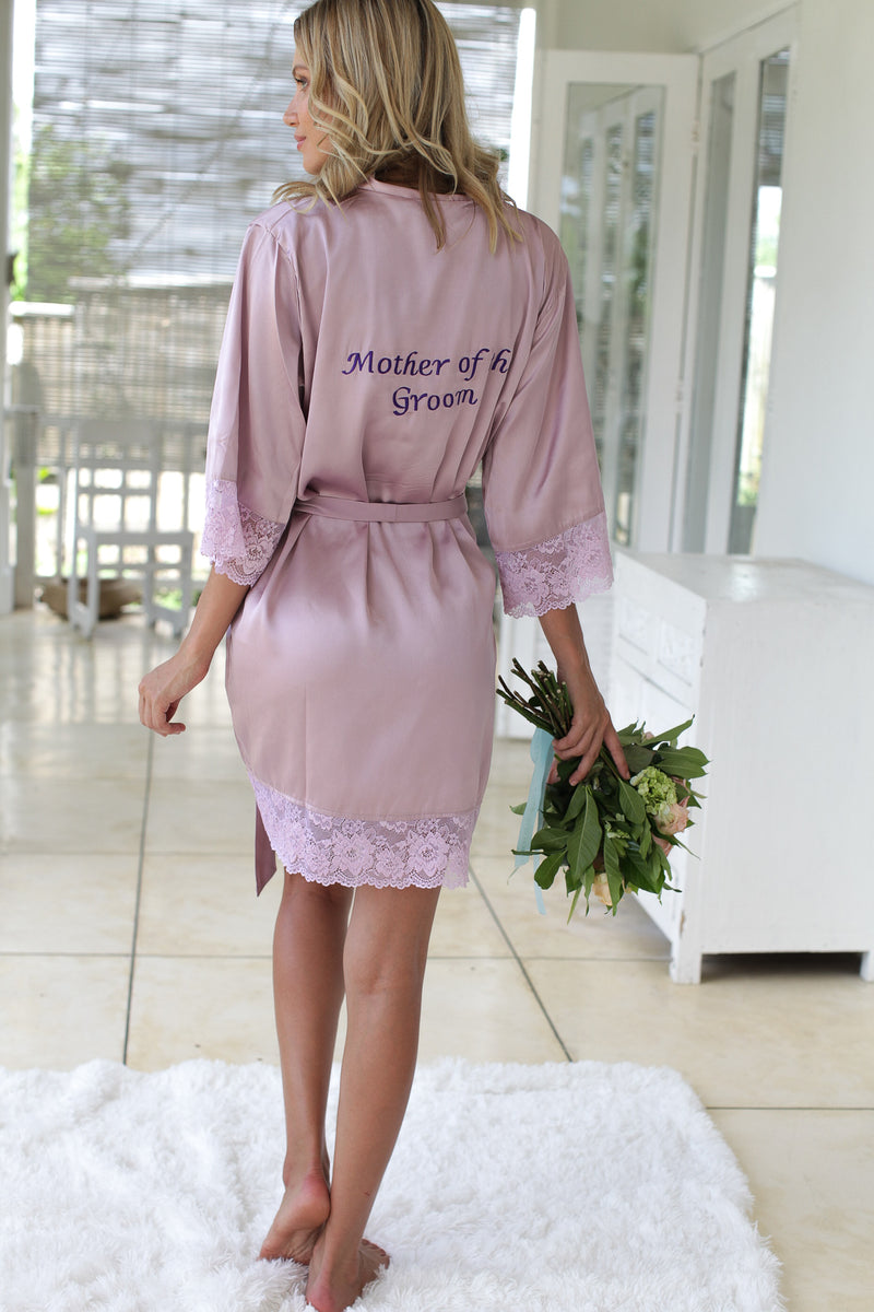 Bridal Robe Lace Silk, Gorgeous Silk and Lace Bridal Robe, Pink Silk Wedding Robe, Lace Sleeve Robe, Blush Lace Robe, Silk Robe