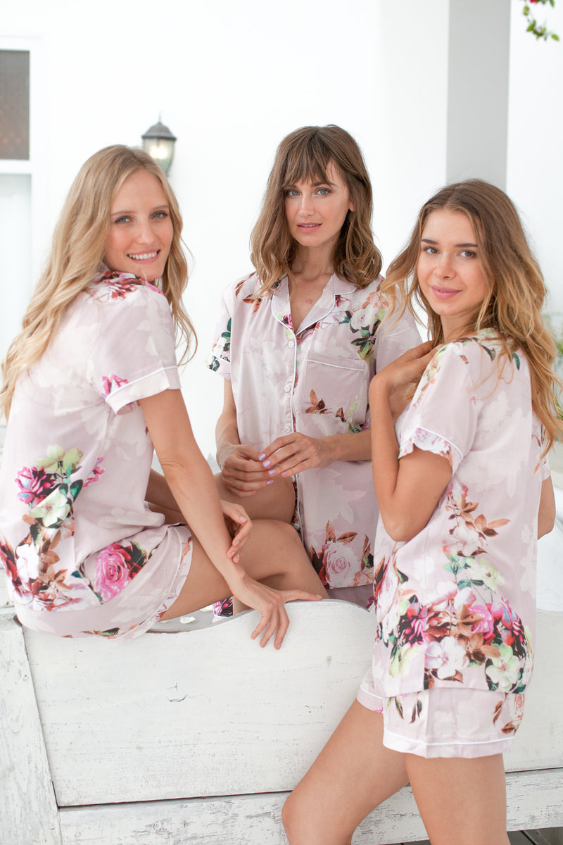 Floral Pajamas Bridal // Bridesmaid Gift // Cotton Pyjamas // Bridesmaid PJs // Pyjamas // Bridal PJS // Modal Shorts // Bridesmaid Pajamas // Pajamas Set