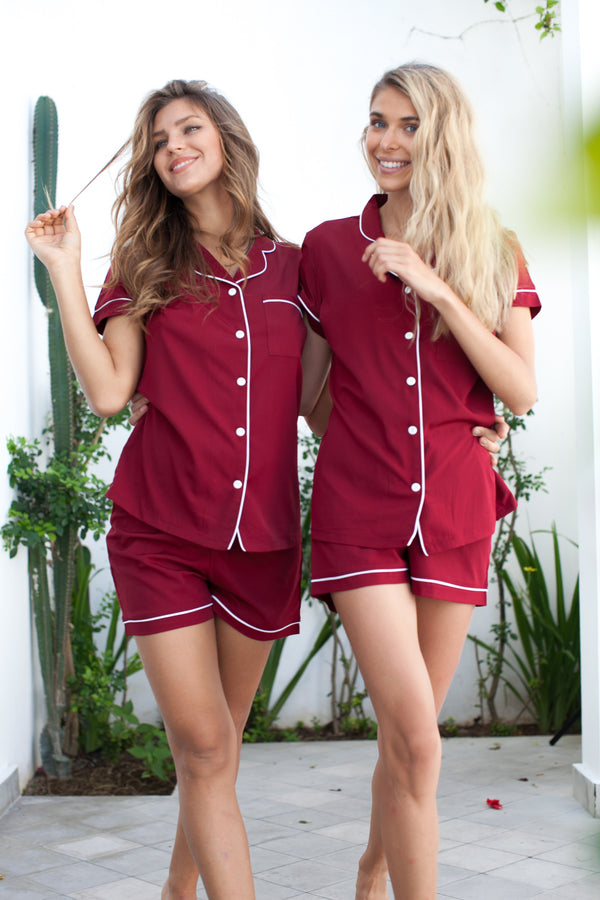 Olivia Crepe Pajamas Set in Burgundy