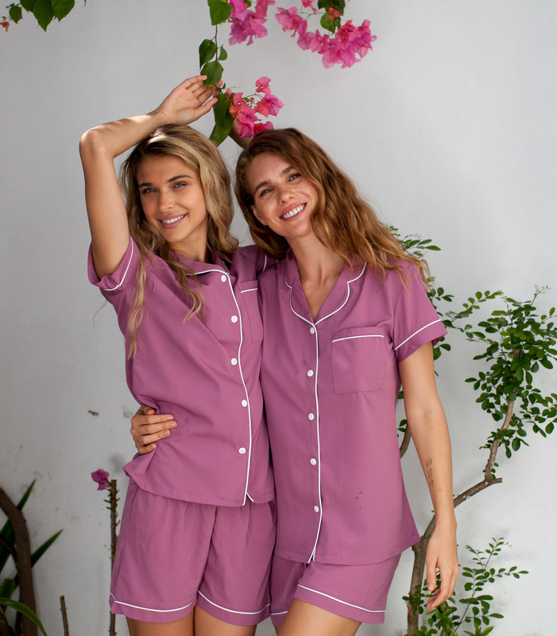 Bride and Bridesmaid Pajama Short Set, Monogrammed Short  Bridesmaid Gift, Getting Ready Shirt
