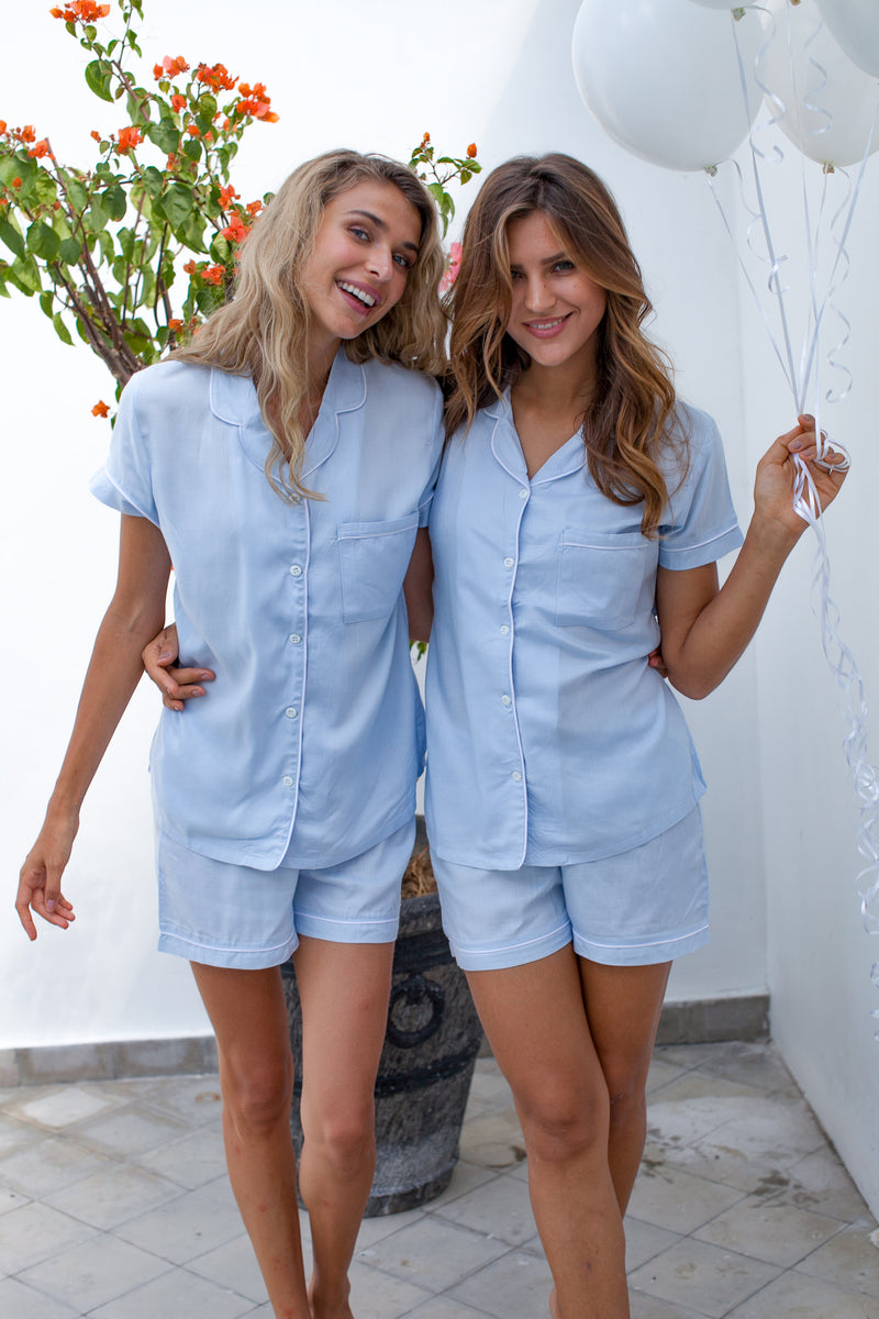 Bridgette Soft Cotton Pajama Set in Cornflower