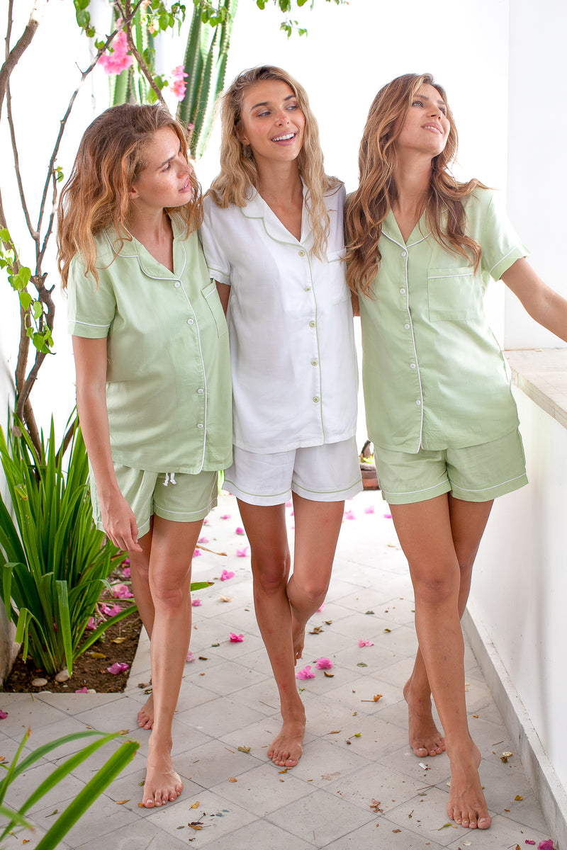 Bridgette Soft Cotton Pajama Set in Sage