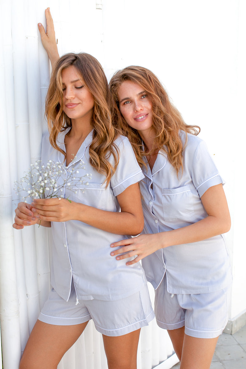 Bridgette Soft Cotton Pajama Set in Grey