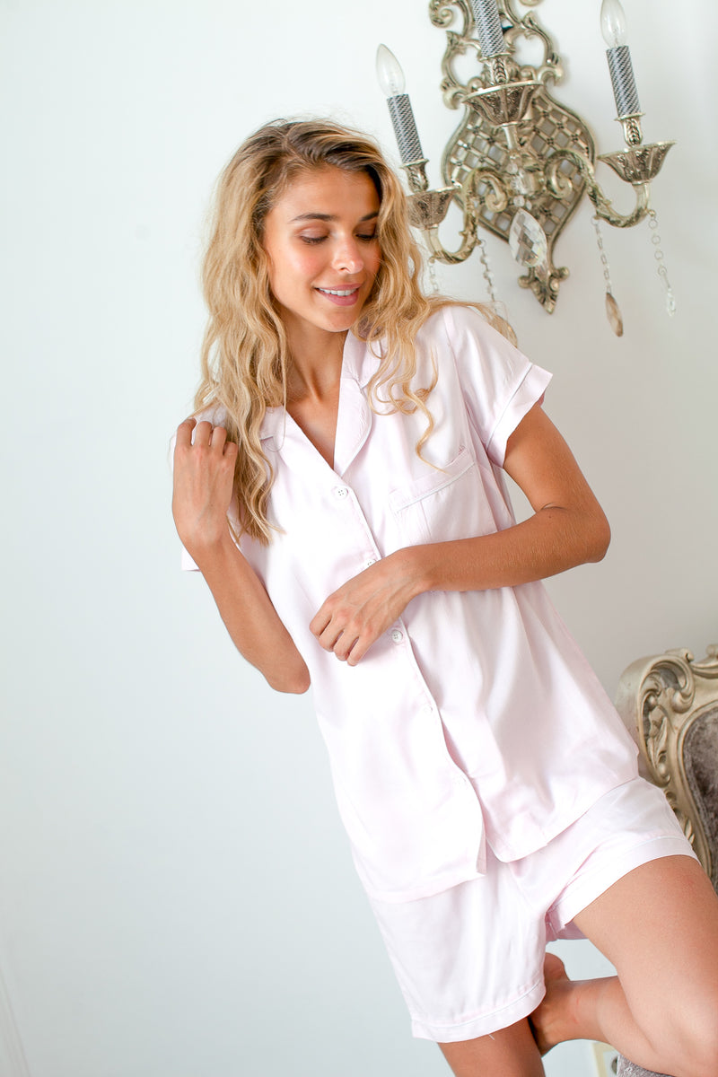 Bridgette Soft Cotton Pajama Set in Baby Pink