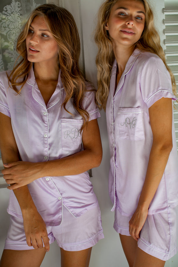 Bridgette Soft Cotton Pajama Set in Lilac