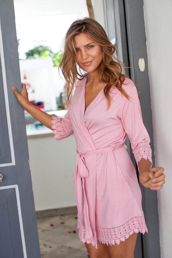 Gigi Jersey Robe with Castle Lace