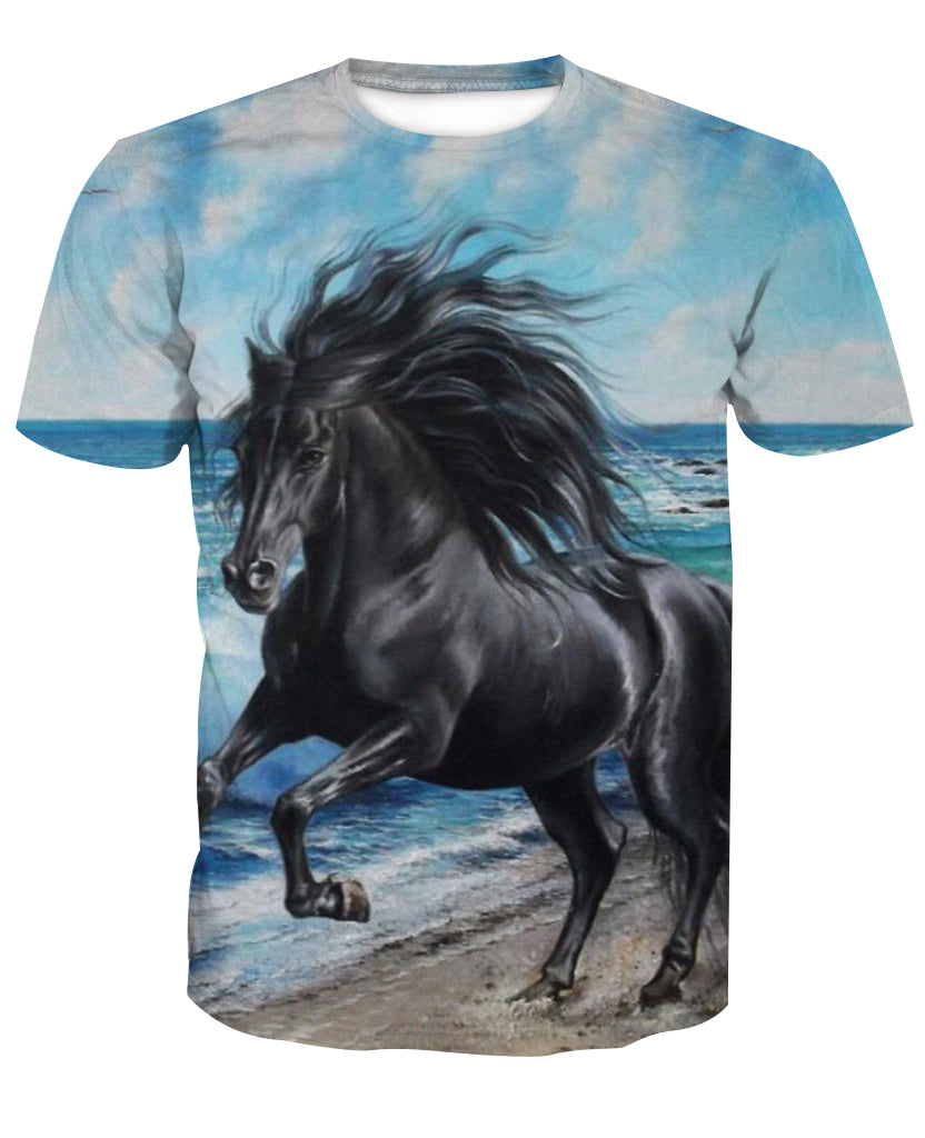 Water and Ride 3D Horse Printed T-Shirt