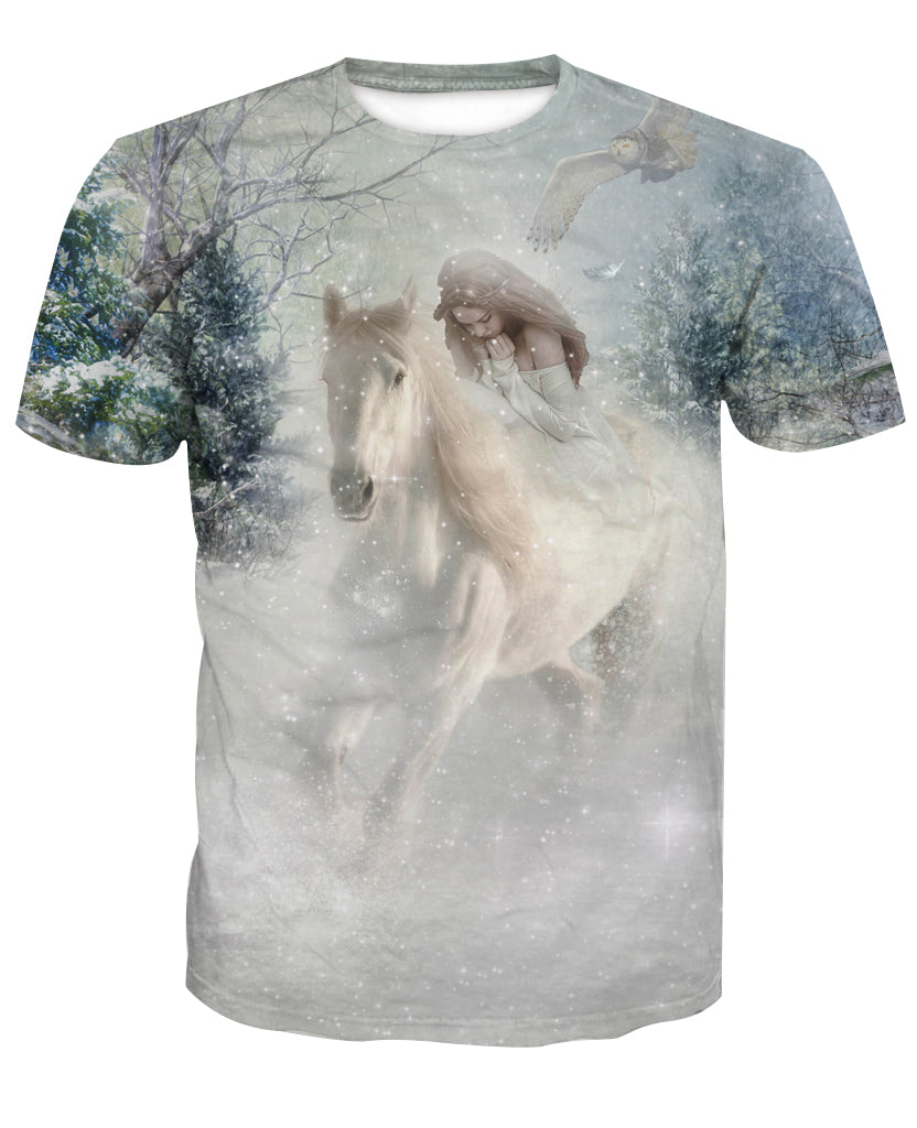 White Winter Rose 3D Horse Printed T-Shirt