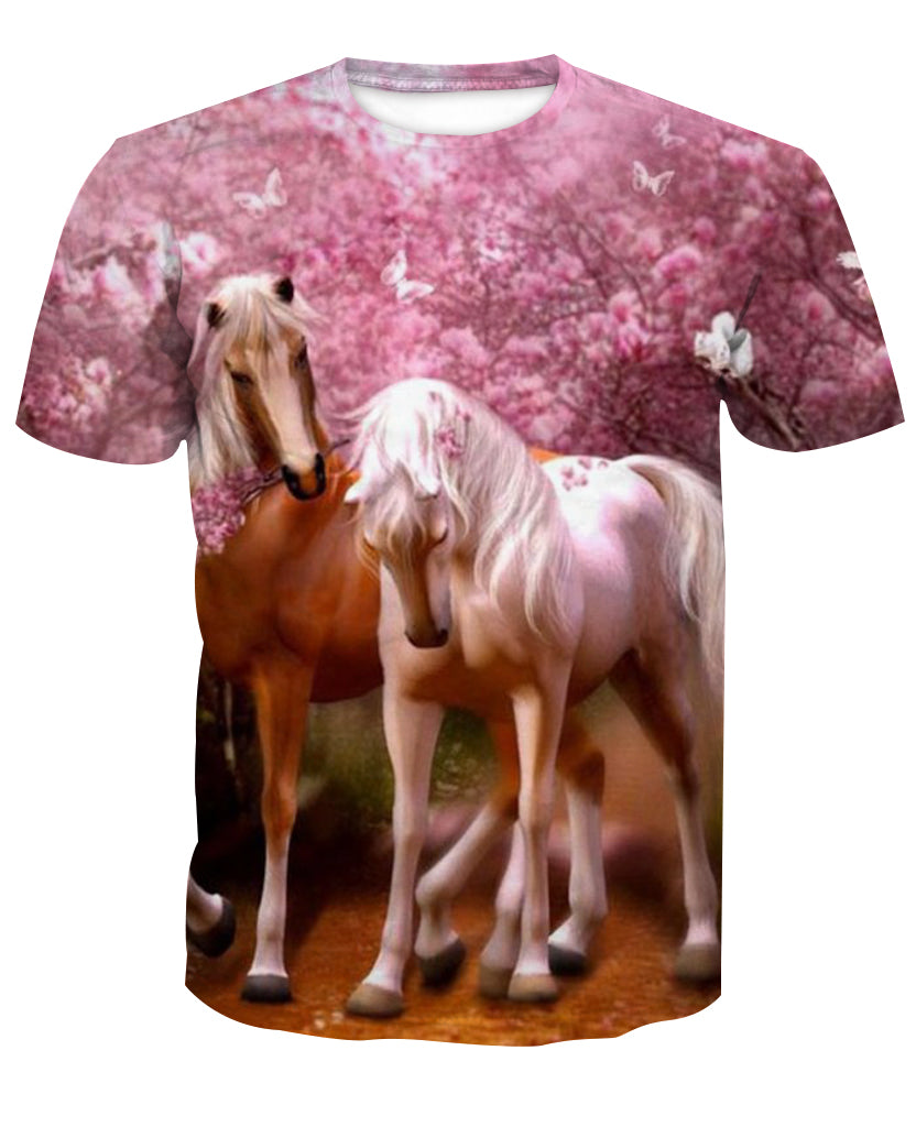 Cherry Blossoms 3D Horse Printed T-Shirt