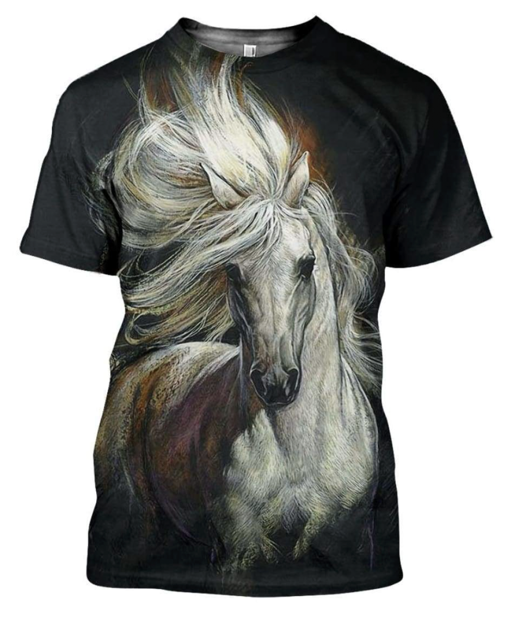 Arabian White Horse 3D Printed T-Shirt
