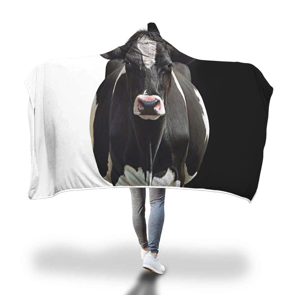 Black And White Cow 3D Hoodie Blanket