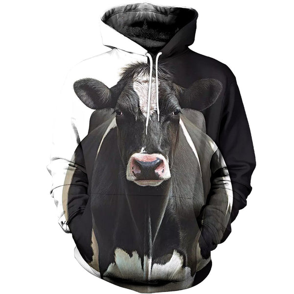 Black and White Cow 3D Printed Hoodie
