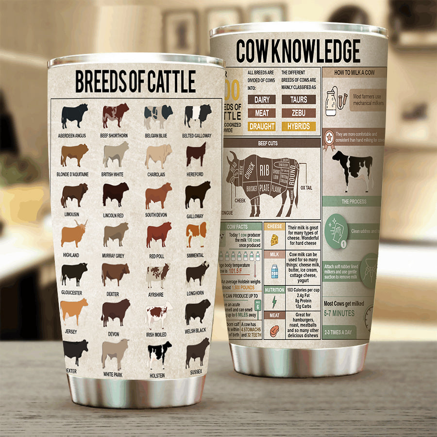 Cow Knowledge Stainless Steel Tumbler