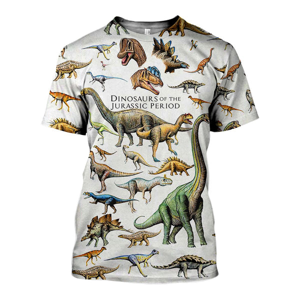 Dinosaurs of the Jurassic Period 3D Printed T-Shirt