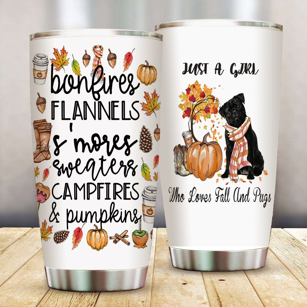 Fall and Pugs Stainless Steel Tumbler