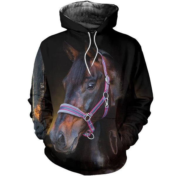 Brown Beauty 3D Horse Printed Hoodie