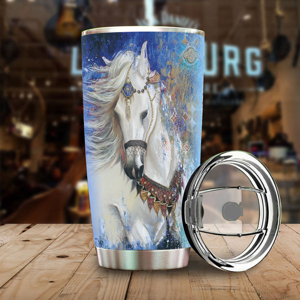 White Dancer Horse Stainless Steel Tumbler