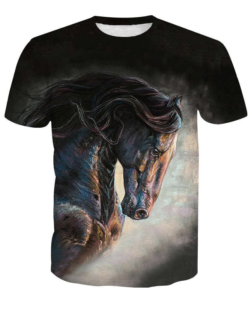 Knight 3D Horse Printed T-Shirt