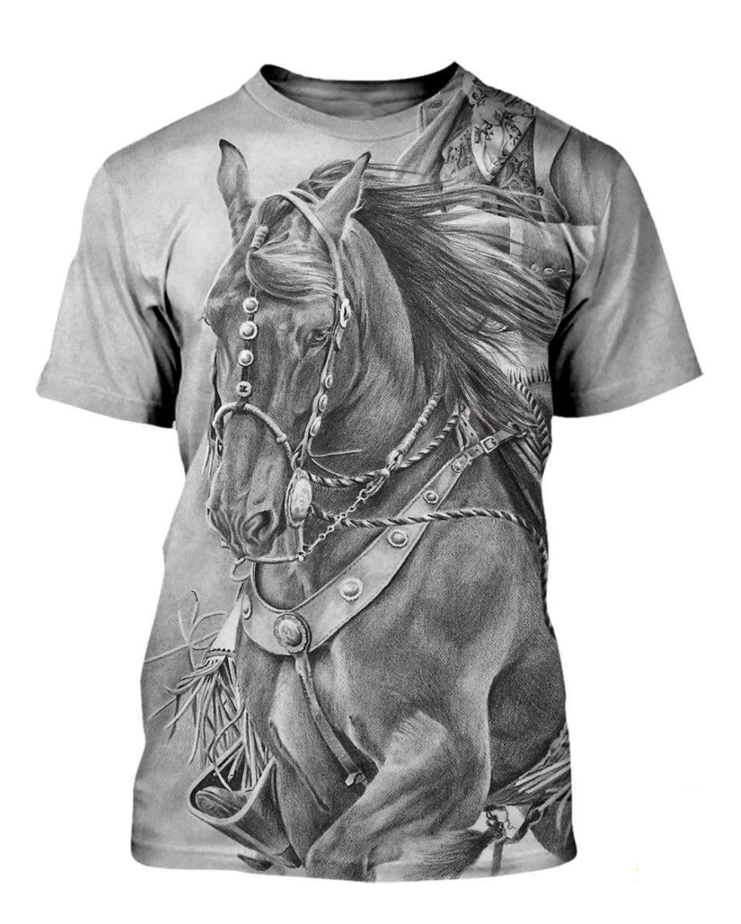 Shadow 3D Horse Printed T-Shirt