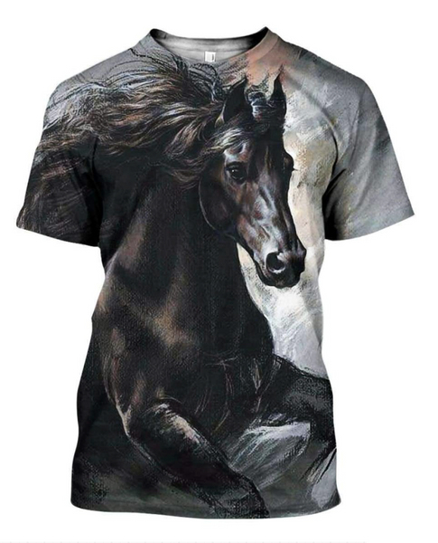 Stormy 3D Horse Printed T-Shirt