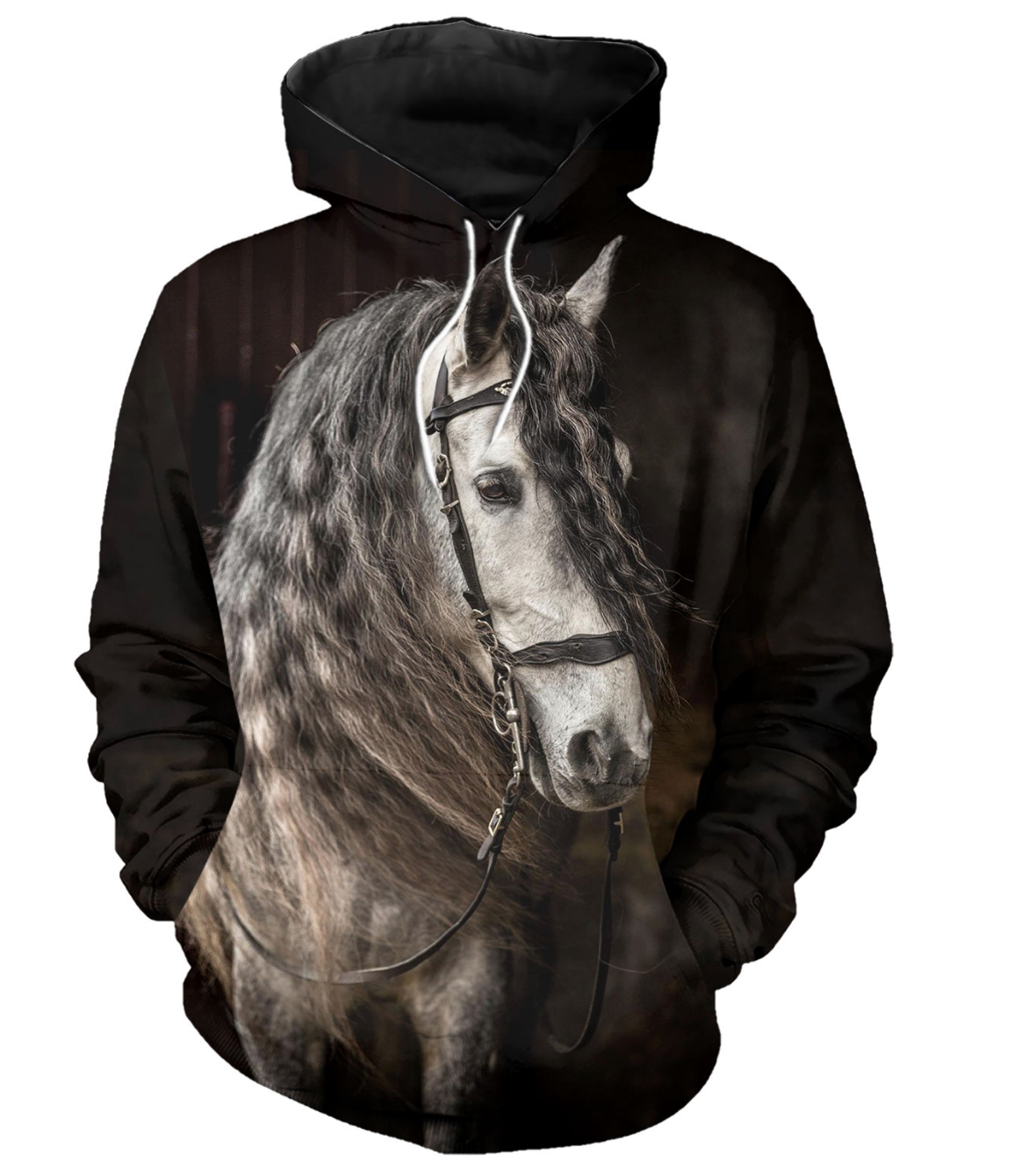White Stallion Horse 3D Printed Hoodie