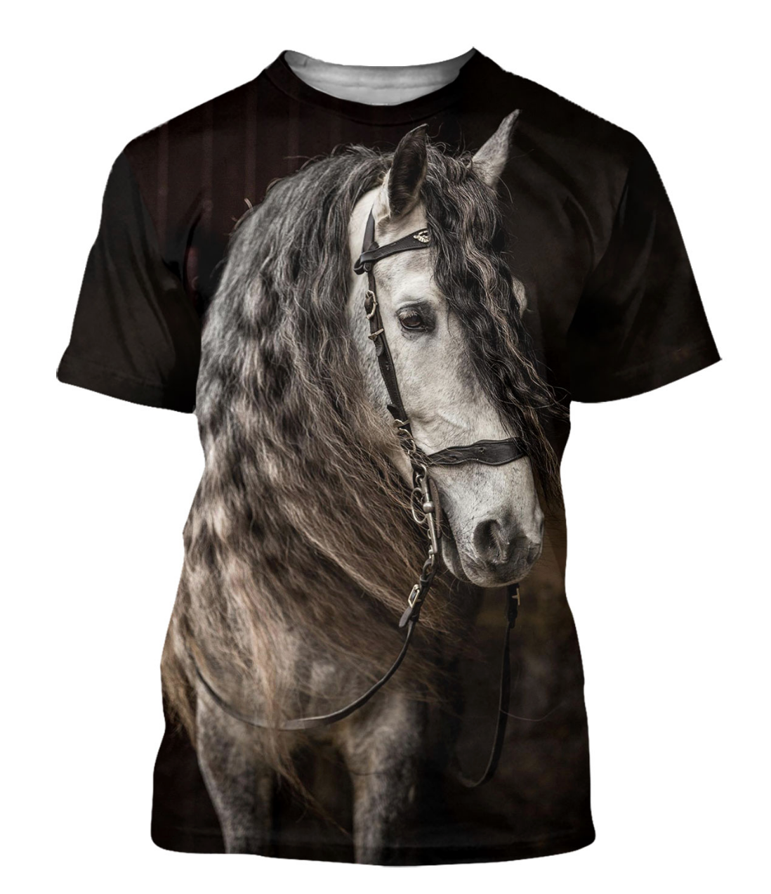 White Stallion 3D Horse Printed T-Shirt