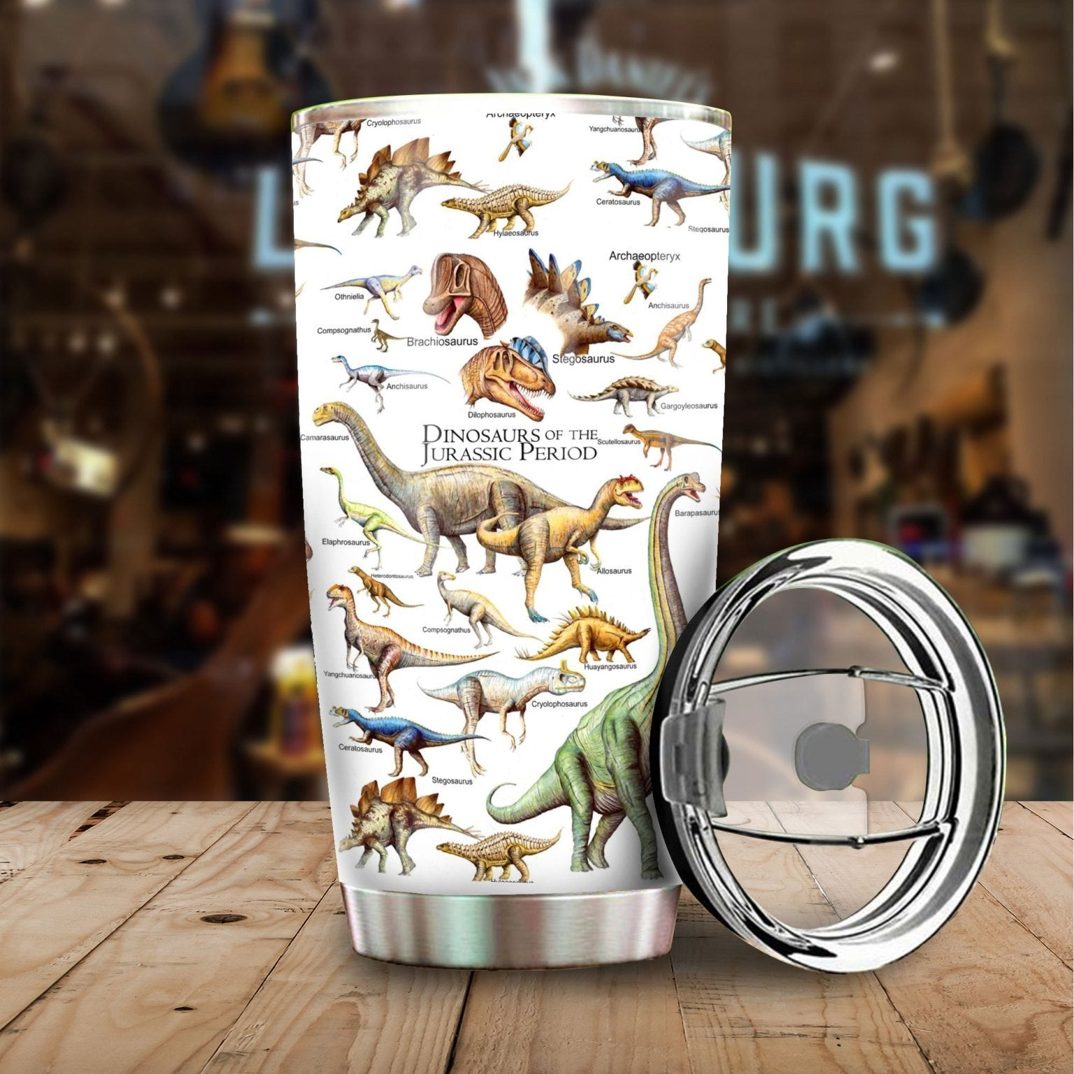 Dinosaurs of the Jurassic Period Stainless Steel Tumbler