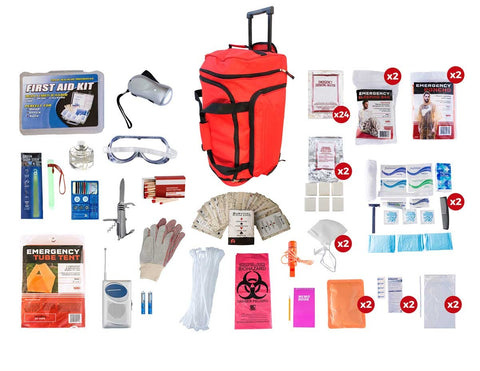 2 Person Elite Survival Kit (72+ Hours) - Red Wheeled Bag