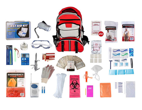 1 Person Elite Survival Kit (72+ Hours) - Red Backpack