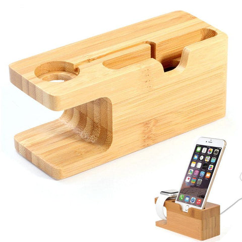 Natural Bamboo iPhone and iWatch Charging Dock