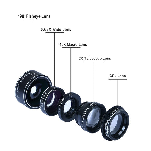 5-in-1 Clip-On Phone Camera Lens