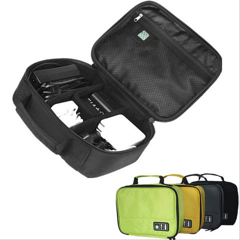 2-in-1 Travel USB Cable and Gadget Device Organizer Storage Bag