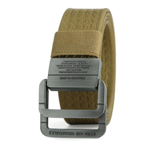 Men Military Thicken Canvas Belt Double Ring Buckle